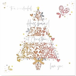 Wonderful Husband at Christmas Laser Cut Tree Luxury Handmade Greeting Card By Talking Pictures