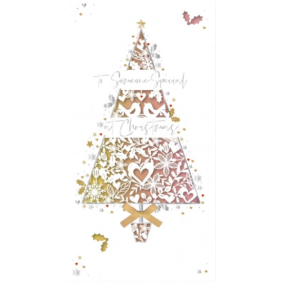 To Someone Special at Christmas Laser Cut Tree Luxury Handmade Greeting Card By Talking Pictures