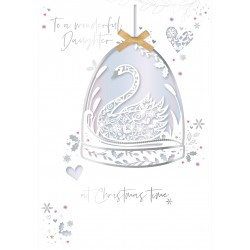 Wonderful Daughter at Christmas Laser Cut Swan Bauble Luxury Handmade Greeting Card By Talking Pictures