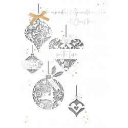 Wonderful Granddaughter at Christmas Laser Cut Baubles Luxury Handmade Greeting Card By Talking Pictures