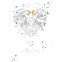 To The One I Love at Christmas Laser Cut Reindeer Heart Luxury Handmade Greeting Card By Talking Pictures