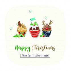 Happy Christmas Cupcakes Festive Treats Luxury Handmade 3D Greeting Card By Talking Pictures