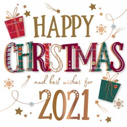 2021 Christmas & New Year Wishes Luxury Handmade 3D Greeting Card By Talking Pictures
