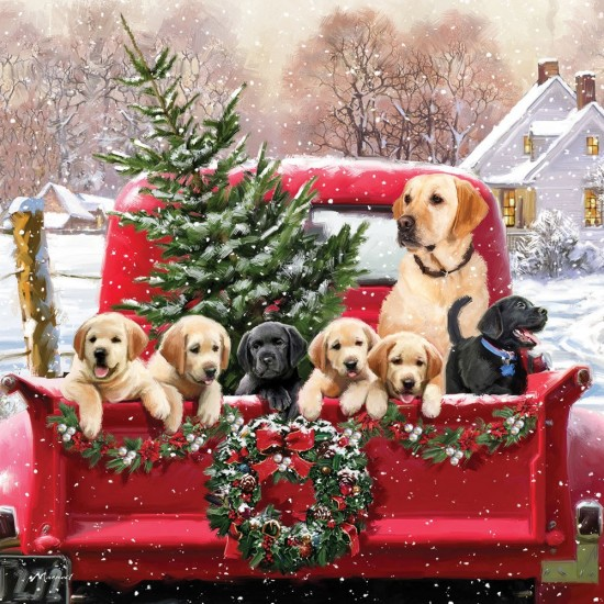 Labrador & Puppies Dog Christmas Single Xmas Card with an eye-popping Lenticular 3D effect