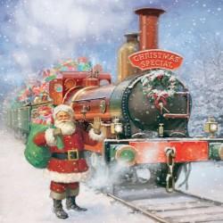 Santa's Christmas Train Single Xmas Card with an eye-popping Lenticular 3D effect