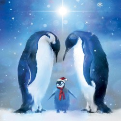 Trio of Festive Penguins Christmas Single Xmas Card with an eye-popping Lenticular 3D effect