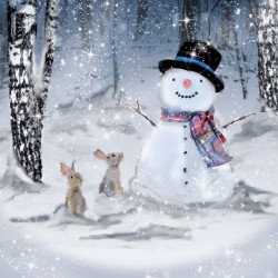 Snowman and Rabbits Christmas Single Xmas Card with an eye-popping Lenticular 3D effect