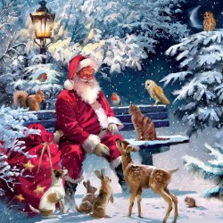 Santa Feeding Woodland Animals Christmas Single Xmas Card with an eye-popping Lenticular 3D effect