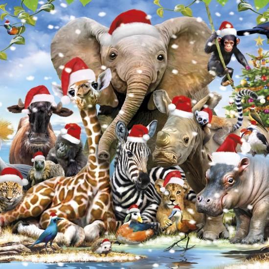 Wild Animals Safari Christmas Single Xmas Card with an eye-popping Lenticular 3D effect
