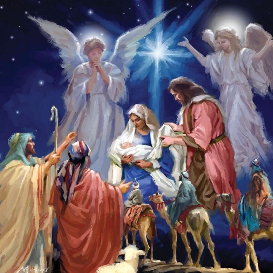 A Child is Born Three Wise Men Christmas Single Xmas Card with an eye-popping Lenticular 3D effect