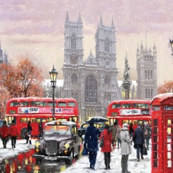 London Westminster at Christmas Single Xmas Card with an eye-popping Lenticular 3D effect