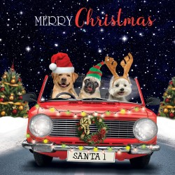 Three Dogs driving home for Christmas Single Xmas Card with an eye-popping Lenticular 3D effect