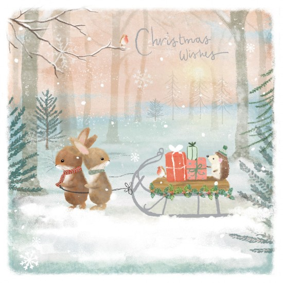 Bunny Sledge of Presents in Snow Sparkle Xmas Charity Christmas Cards 5 Pack