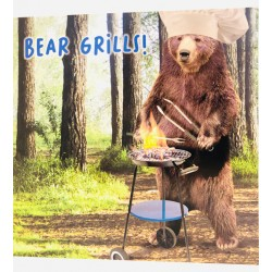 Bear Grills Barbeque Chef Fathers Day Greeting Card (VRF317)