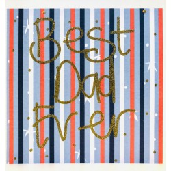 Best Dad Ever Stripes Fathers Day Greeting Card (M011)