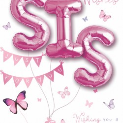 Birthday Wishes Sister - Single Large Card with 3 x 30cm foil balloons by Balloon Boutique
