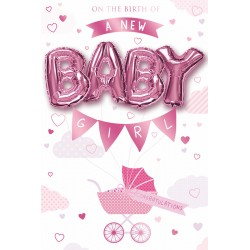 A New Baby Girl - Single Large Card with 4 x 30cm foil balloons by Balloon Boutique