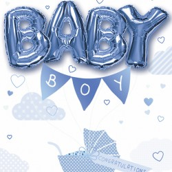 A New Baby Boy Large Greeting Card with 4 Air foil Balloons by Balloon Boutique