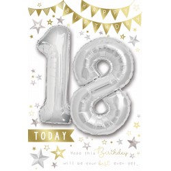 Happy Birthday 18 Today - Single Large Card with 2 x 30cm foil balloons by Balloon Boutique