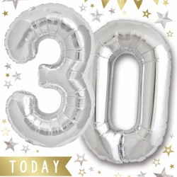 Happy Birthday 30 Today - Single Large Card with 2 x 30cm foil balloons by Balloon Boutique