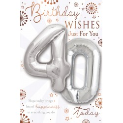 Birthday Wishes 40 Today - Single Large Card with 2 x 30cm foil balloons by Balloon Boutique