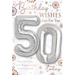 Birthday Wishes 50 Today - Single Large Card with 2 x 30cm foil balloons by Balloon Boutique