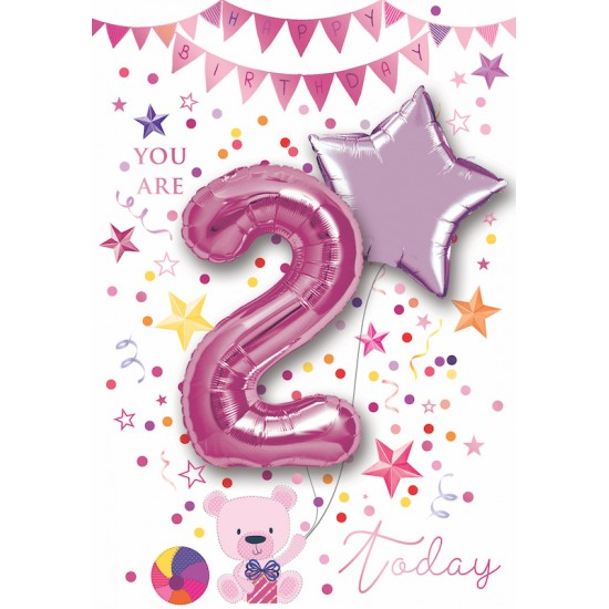 Happy Birthday Girl 2 Today Single Card With 2 X 30cm Foil