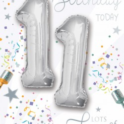 Happy Birthday 11 Today - Single Card with 2 x 30cm foil balloons by Balloon Boutique