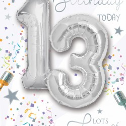 Happy Birthday 13 Today - Single Card with 2 x 30cm foil balloons by Balloon Boutique