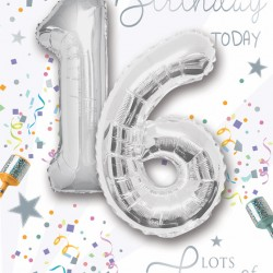 Happy Birthday 16 Today - Single Card with 2 x 30cm foil balloons by Balloon Boutique