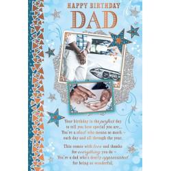 Dad Happy Birthday African Ethnic Ebony Greeting Card with Gold Foil Finish