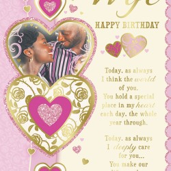 Wife Happy Birthday with Love African Ethnic Ebony Greeting Card with Lovely Verse