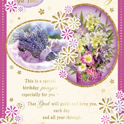 A Prayer on Your Birthday Greeting Card with Religious Poem - Lavender Flowers