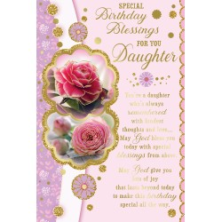 Daughter Special Birthday Blessings Greeting Card with Religious Poem - Roses