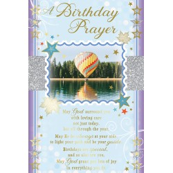 A Birthday Prayer Blessings Greeting Card with Religious Poem - Airballoon