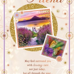 Birthday Blessings for a Dear Friend Greeting Card with Religious Poem - Sunset Butterflies