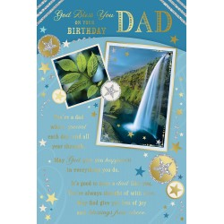 Dad God Bless you on your Birthday Greeting Card with Religious Poem - Waterfall