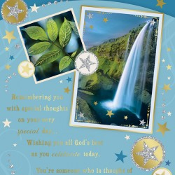 Birthday Blessings Greeting Card with Religious Poem - Waterfall