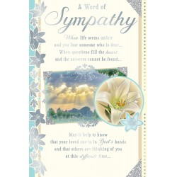 A Word of Sympathy Greeting Card with Religious Poem - Lily - Forever Blessed