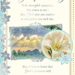 With Deepest Sympathy Greeting Card with Religious Poem - Lily - Forever Blessed