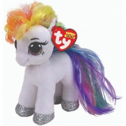 "TY Beanie Boo Starr the white Pony Small 6"" Soft Toy"