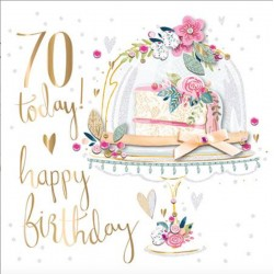70 Today Floral Cake Luxury Handmade 70th Birthday Card by Talking Pictures