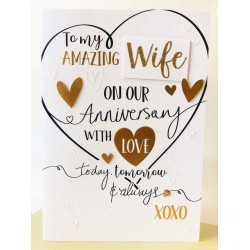 Amazing Wife On Our Anniversary With Love Luxury Handmade Card by Talking Pictures