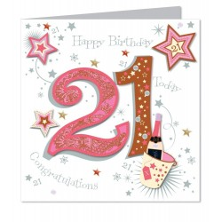Large Luxury Handmade 21st Happy Birthday Card
