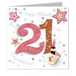 Large Luxury Handmade 21st Happy Birthday Card