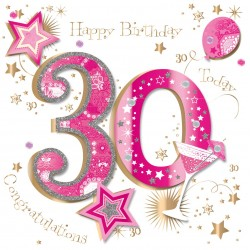 Large Luxury Handmade 30th Happy Birthday Card