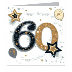 Large Luxury Handmade 60th Happy Birthday Card