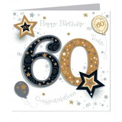 Large Luxury Handmade 60th Happy Birthday Card