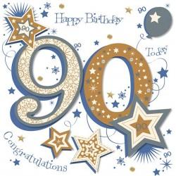 Large Luxury Handmade 90th Birthday Card
