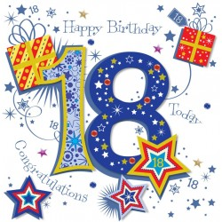 18th Birthday Male Congratulations - Large Handmade Greeting Card by Talking Pictures